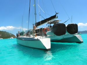The boat I worked aboard out of St. John. Anchored here at Jost Van Dyke