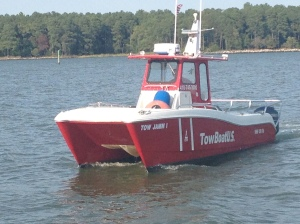 My mother owns and operates a Tow Boat US franchise in the Chesapeake Bay. This is one of her towboats.